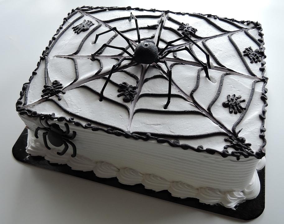 Halloween Cake, Spiders, Web, Chocolate, Food