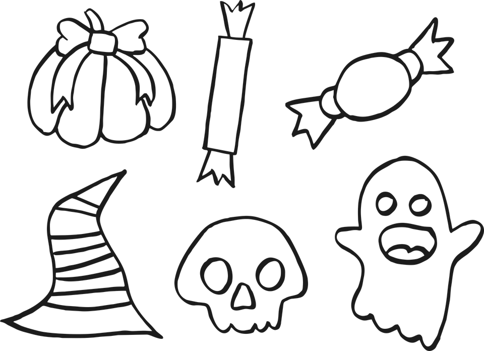 Halloween, Icons, Doodle, Outline, Drawing