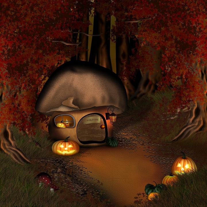 Halloween, Forest, Mushroom House, Forest Lodge