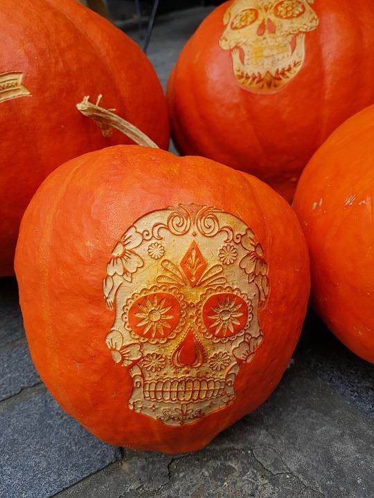 Pumpkins, Halloween, Skull, Autumn, Gourd, Deco