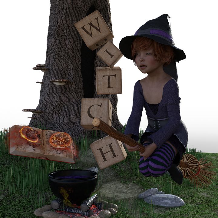 The Witch, Magic Book, Magic Potion, Halloween, Tree
