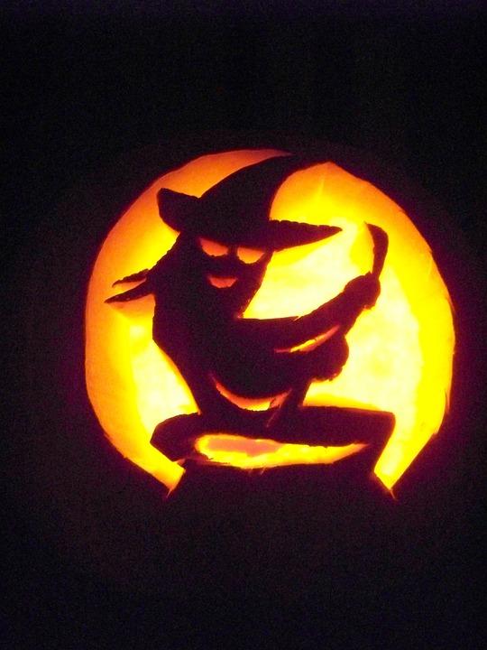 Jack-o-lantern, Pumpkin, Halloween, Witch, Carved