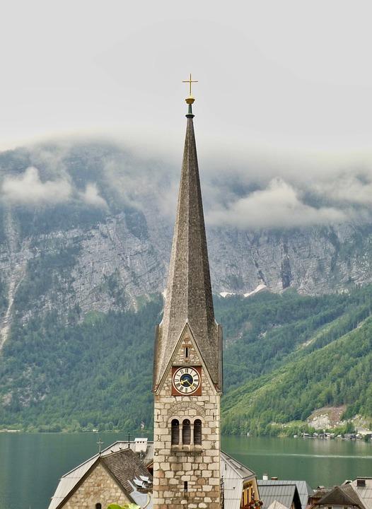 Church, Hallstatt, Mountains, Alpine, Water, Bergsee