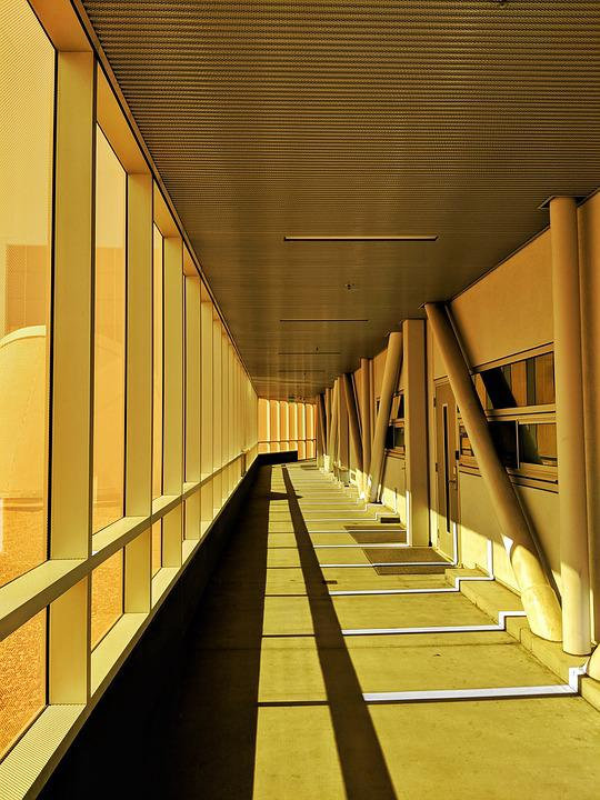 Hallway, Orange Glass, Afternoon, Building, Concrete