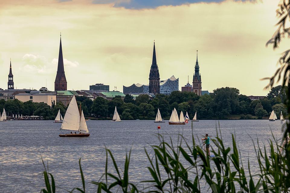 Hamburg, Alster, Ship, Boat, Landscape, Sky, Travel
