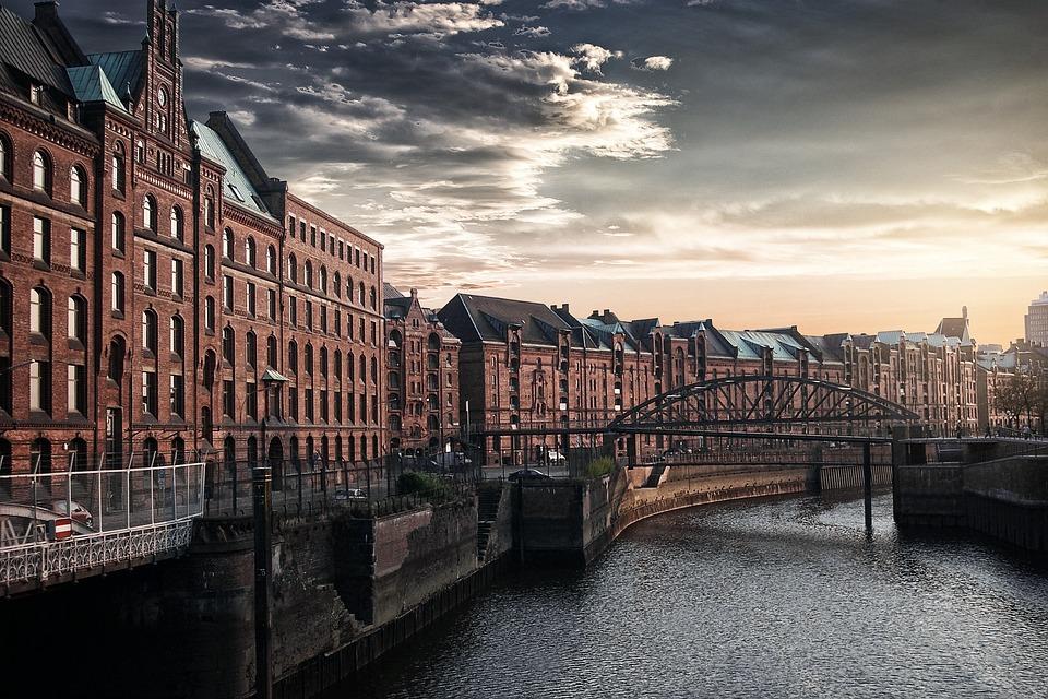 City, River, Sky, Hamburg, Clouds, Bridge, Sunset, Sun