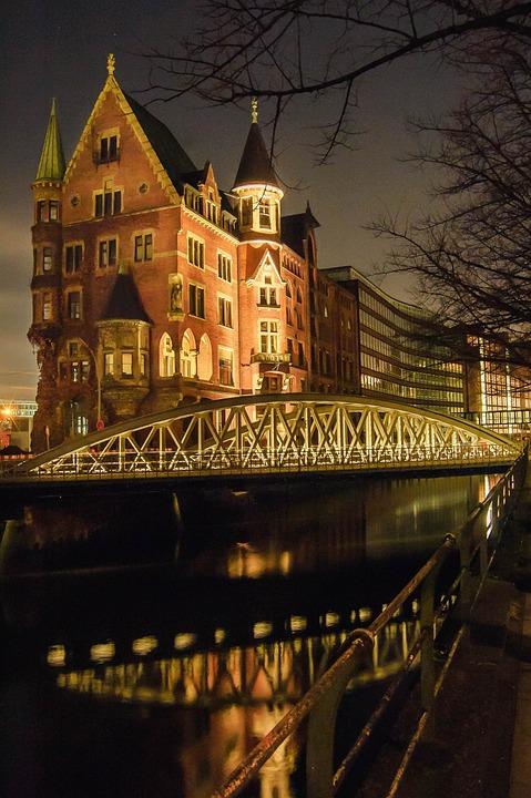 Hamburg, Speicherstadt, Building, Long Exposure