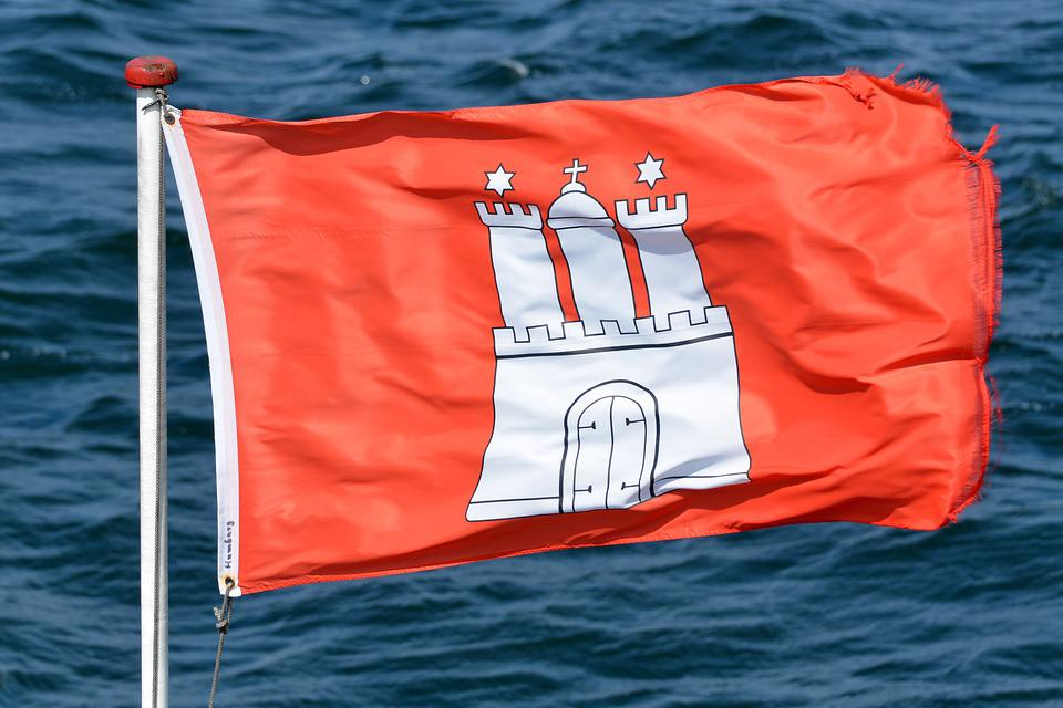 Hamburg, Flag, Hamburger, Symbols, Characters, Windy
