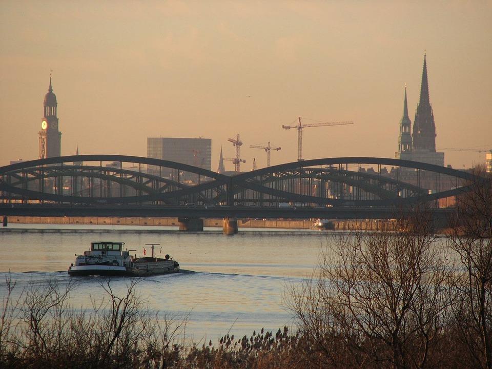 New Elbe Bridge, Hamburg, Elbe, Bridge, Germany, Saxony