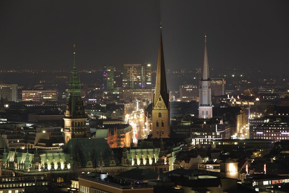 Hamburg, Night, Church, Long Exposure, Lights
