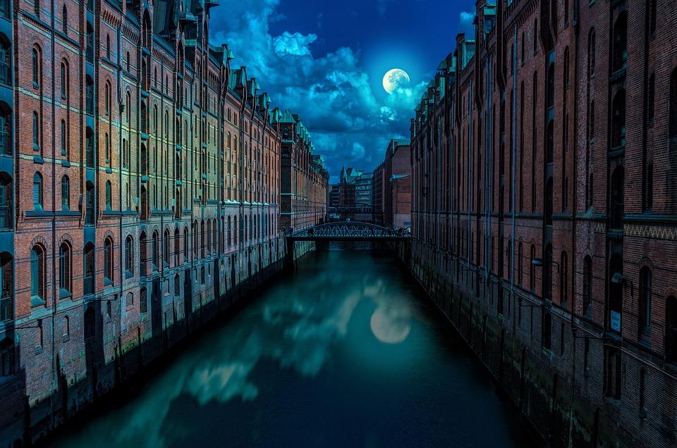 City, Hamburg, Night, Night Photos, Moonlight, Lighting