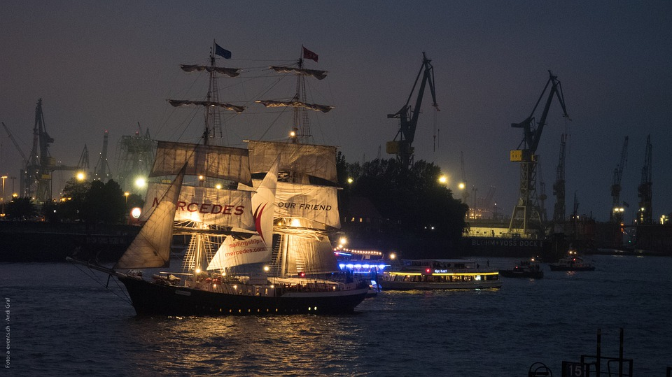 Hamburg, Night, Hafengeburtstag, Sailing Vessel, Sail