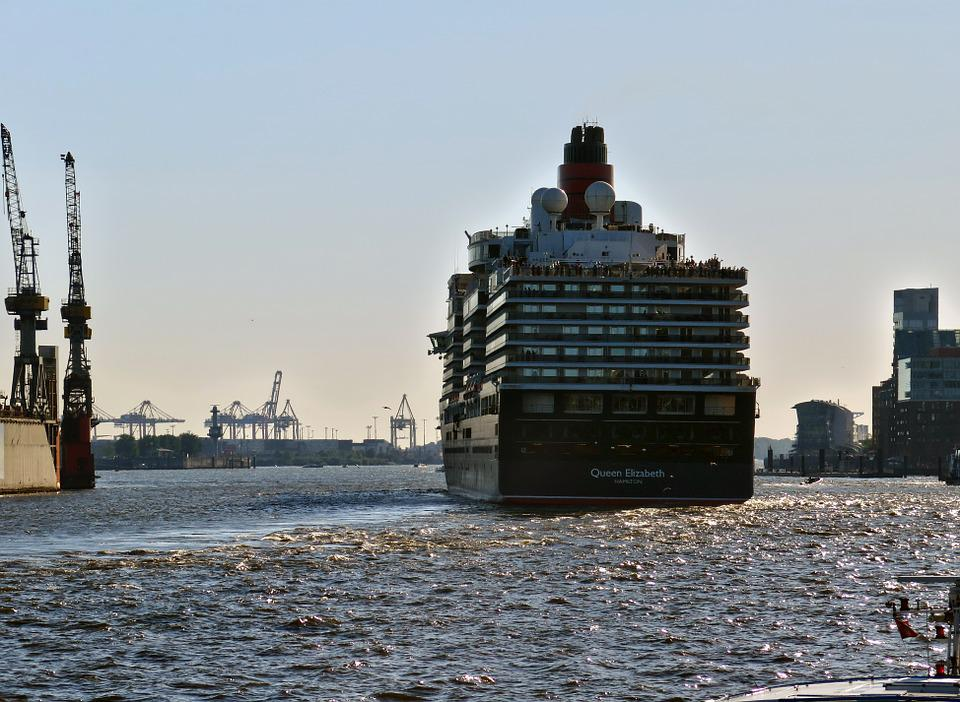 Cruise Ship, Queen Elisabeth, Ship, Elbe, Hamburg, Port