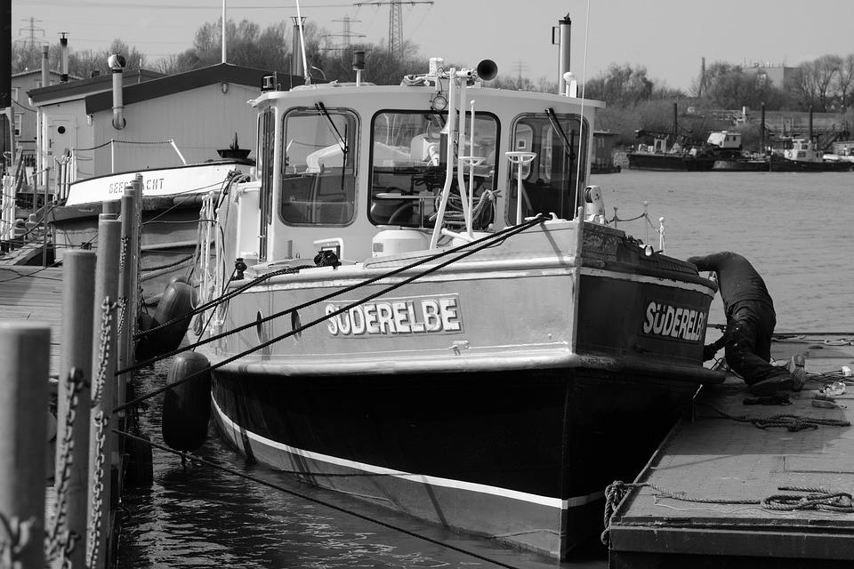 Port, Hamburg, Barge, Repair, Süderelbe, Shipyard
