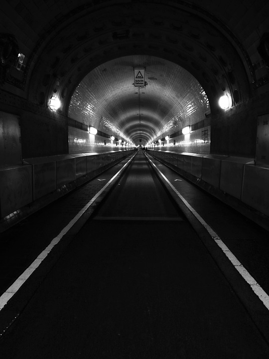 Tunnel, Elbe Tunnel, Hamburg, Black And White