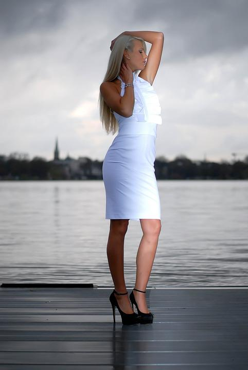 White Dress, Fashion, Woman, Model, Hamburg, Pier