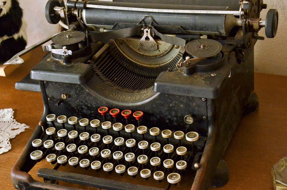 Typewriter, Keyboard, Key, Antique, Hammer, Hammer Blow
