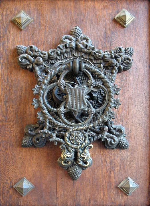 Door, Knocker, Metal, Hand, Hammered, Wood, Iron