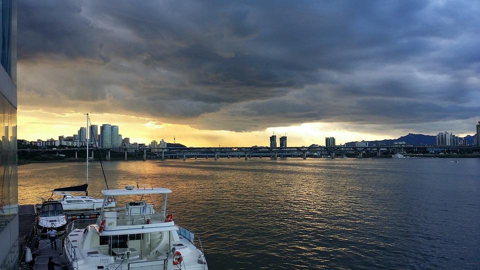 Han River, Seoul, Bridge, Cloud, Background