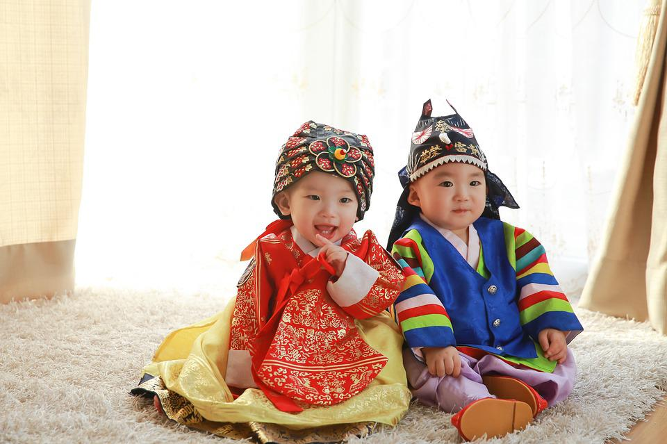 Traditional, Clothing, Baby, Hanbok, Korea