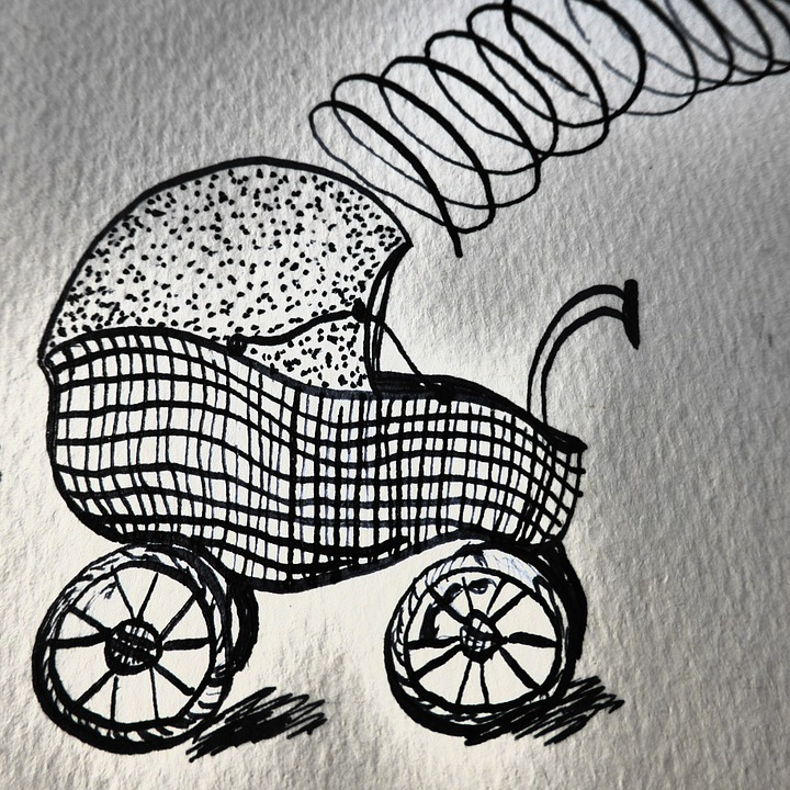 Hand Drawn Sketch, Baby Carriage, Birth, Map