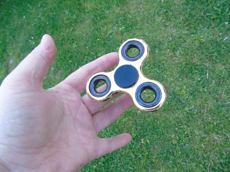 Fidget Spinner, Spinner, Toy, Games, Gold, Hand