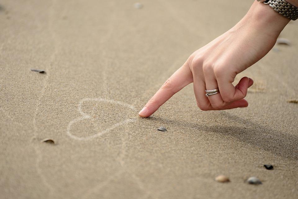 Hand, Finger, Woman, Heart, Sand, Beach, Symbol, Love