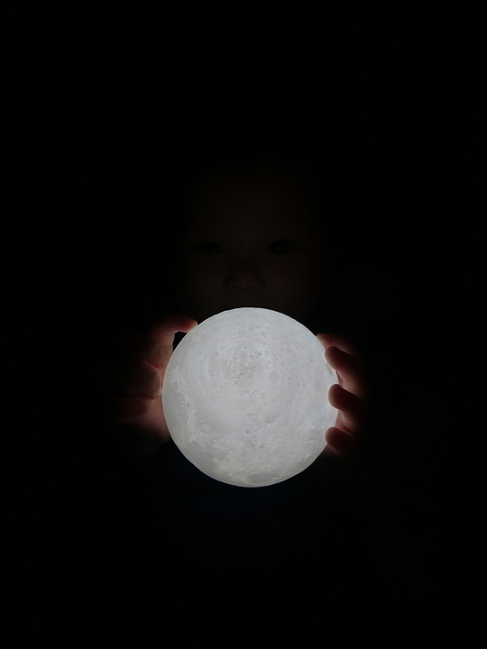 Mid-autumn Festival, Baby, Moon, Hand, Dark