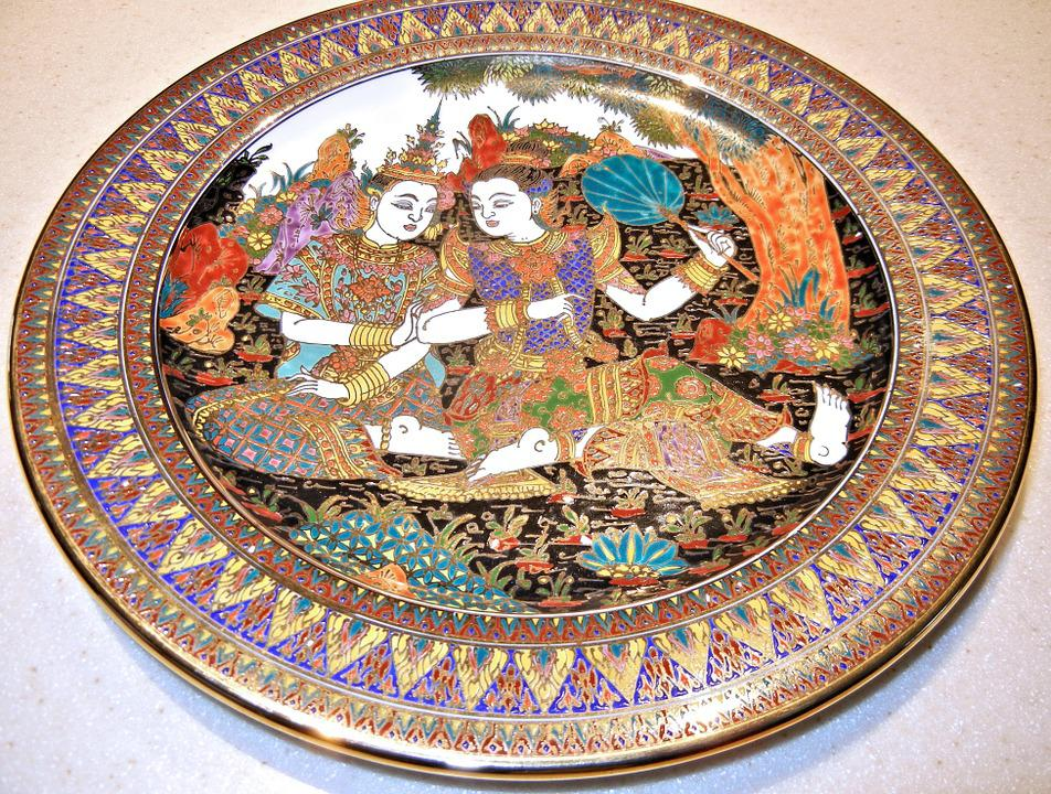 Hand Painted, Thailand, Plate, Art