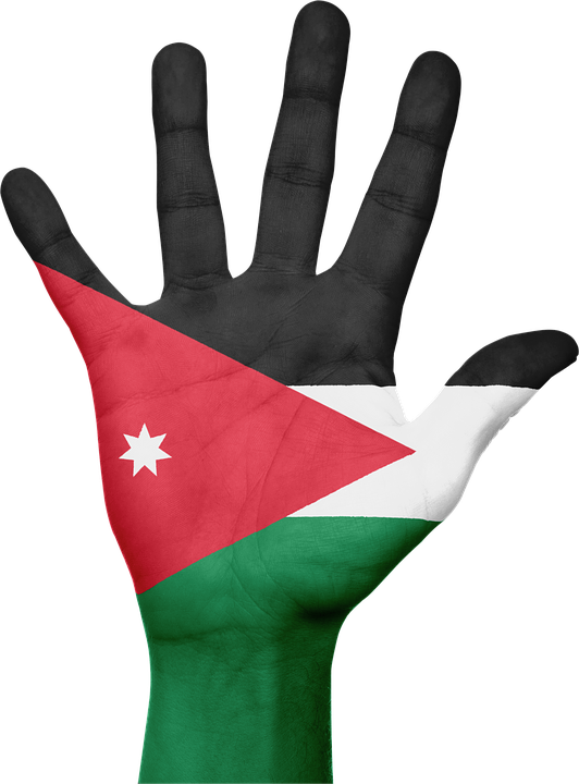 Jordan, Flag, Hand, National, Fingers, Patriotic