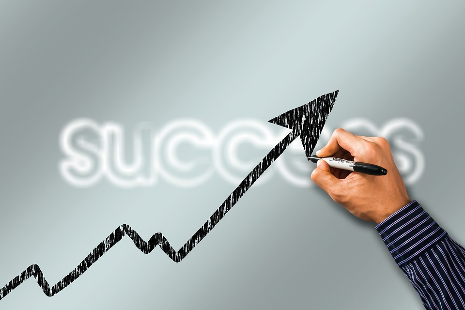 Business, Success, Curve, Hand, Draw, Present, Trend