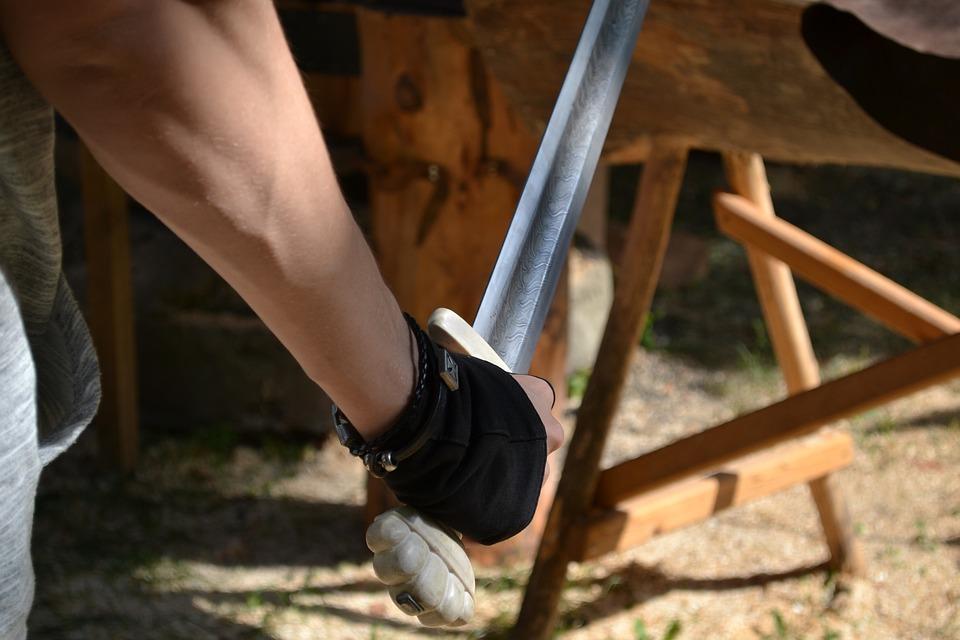 Hand, Blade, Saber, Knight, Iron, Steel, Vintage