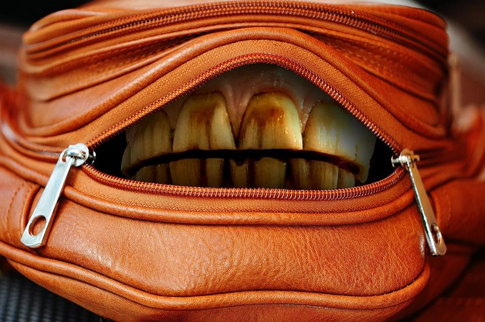 Handbag, Open, Mouth, Tooth, Funny