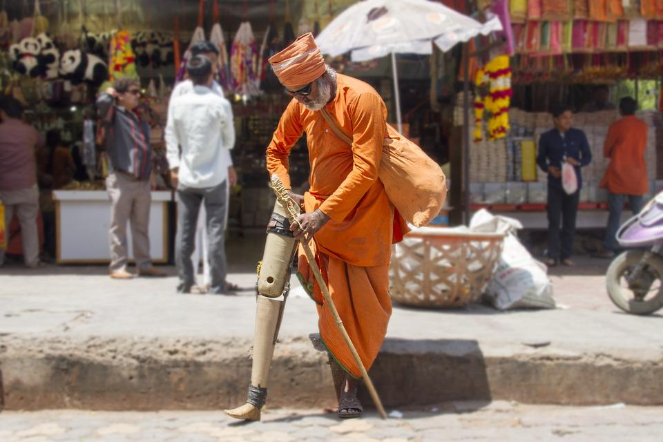 Yogi Handicapped Hinduism Temple Indian Sadhu
