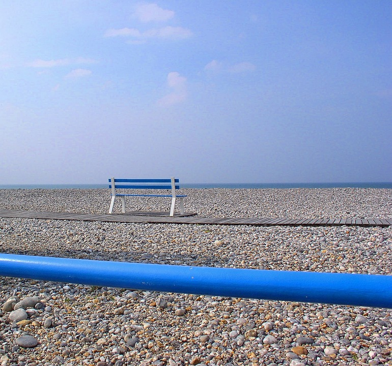 Pebble, Blue Lines, Bench, Beach, Handle