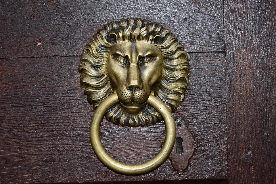 Door, The Lion, Knocker, Old, Golden, Iron Lion, Handle