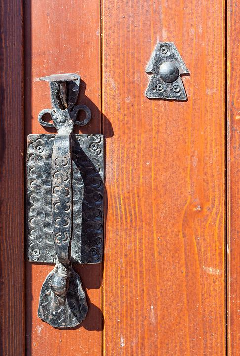 Door, Handle, Metal, Old, Tree, Entrance, Background