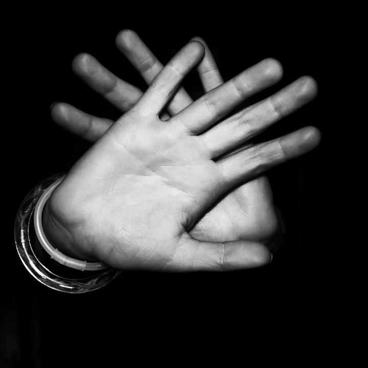 Black And White, Hands, Palm, Fingers
