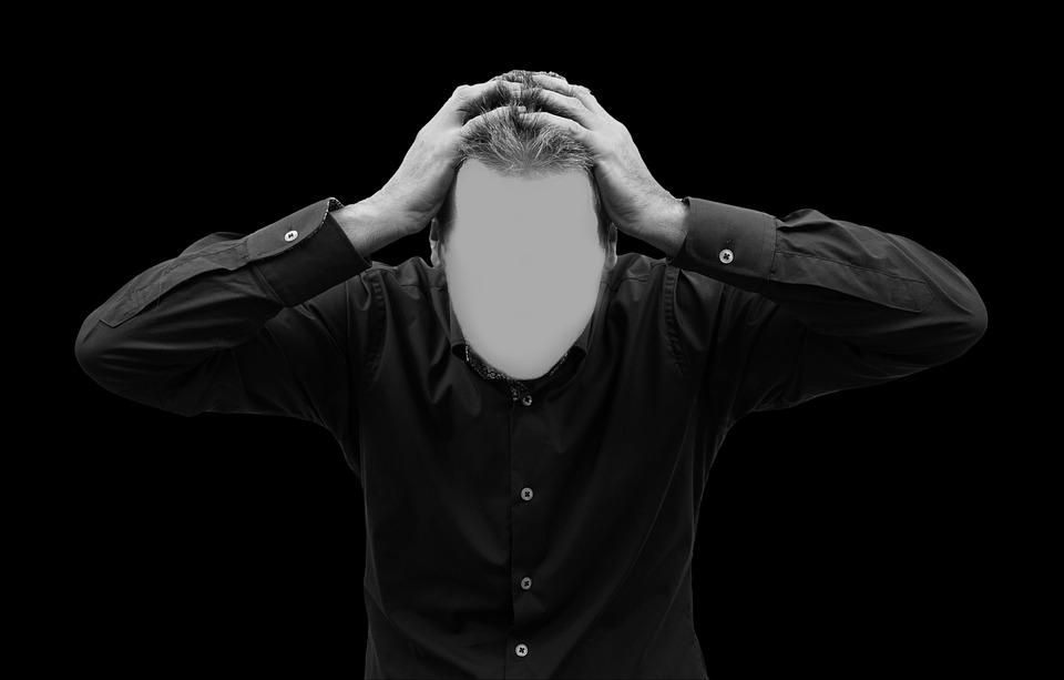 Man, Face, Psychosis, Head, Hands, Headache, Burnout