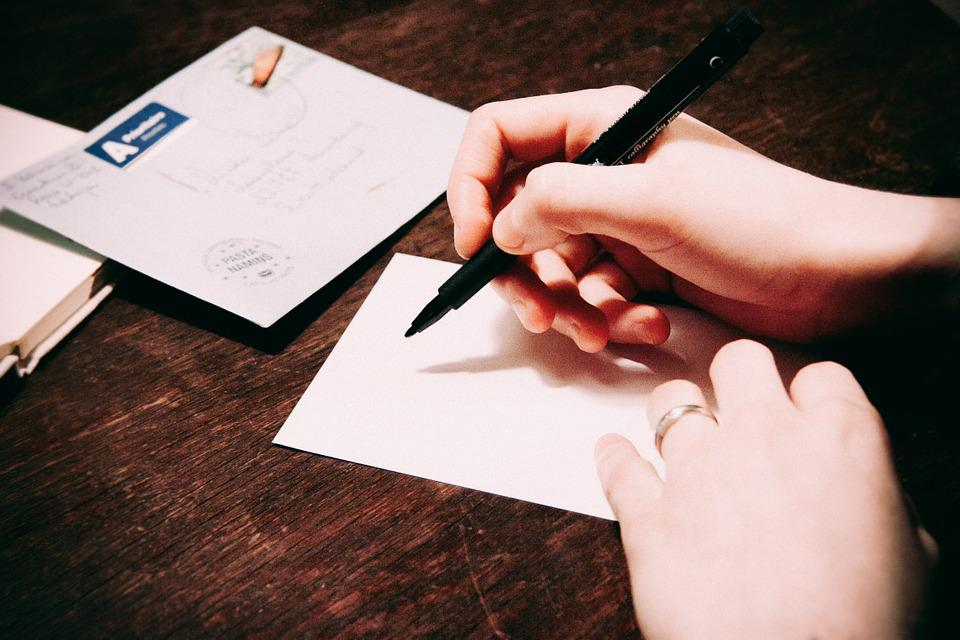 Writing, Postcard, Letter, Pen, Hands