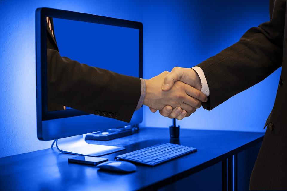 Handshake, Hands, Monitor, Online, Partner, Businessmen