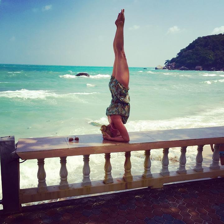 Yoga, Sea, Sun, Beach, Pose, Coast, Handstand