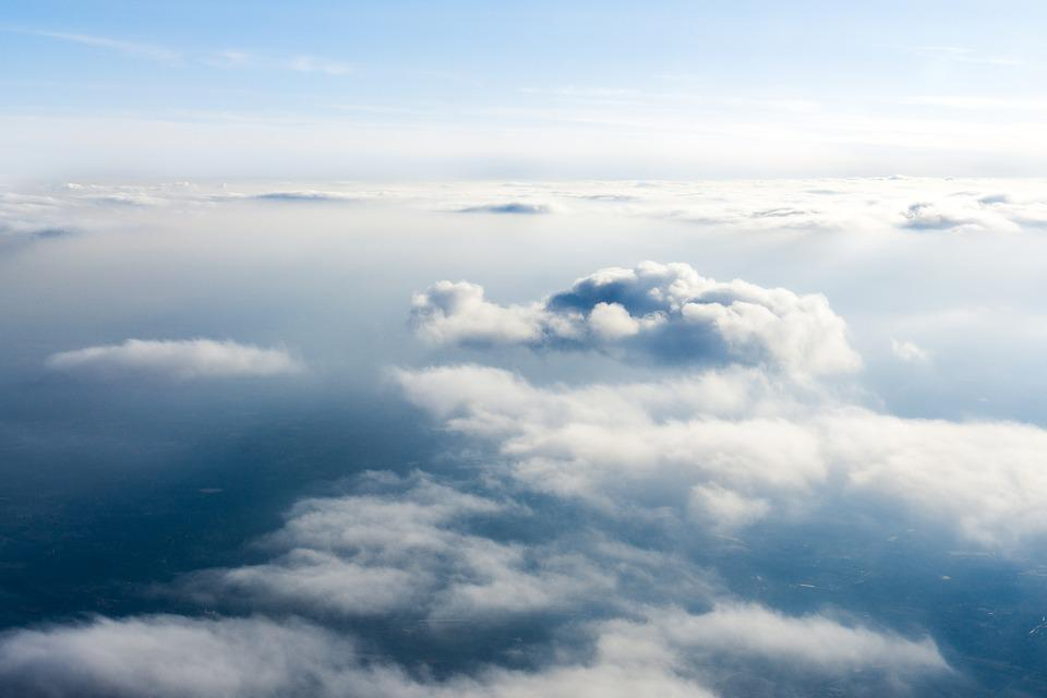 Clouds, Sky, Blue, Hang Glider, The Height Of The