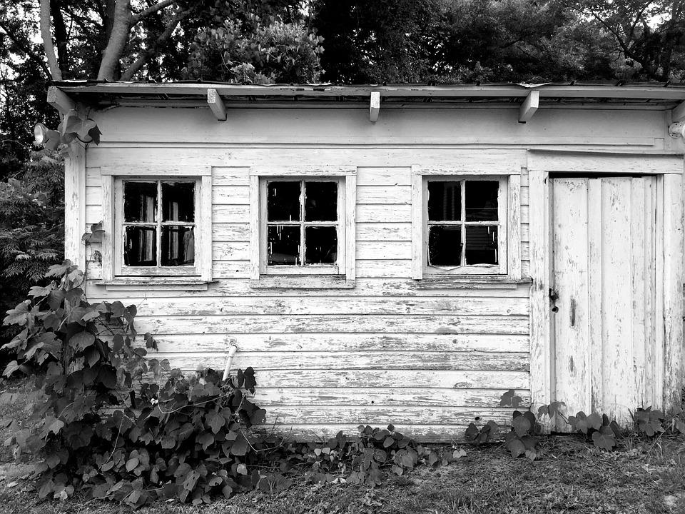 Barn, Hangar, Black And White, Shack, Old, Vintage