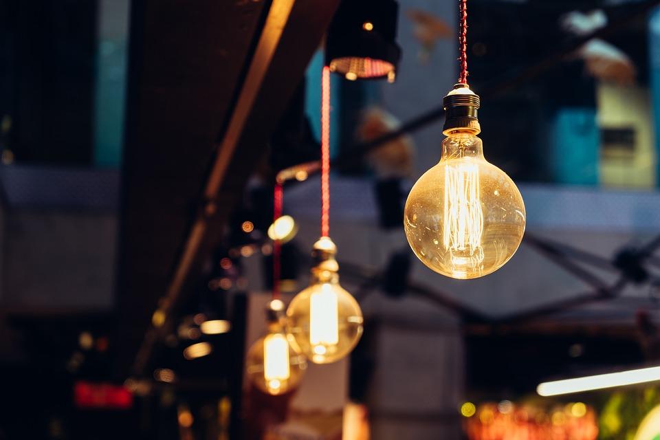 Bright, Hanging, Illuminated, Light Bulbs, Lights