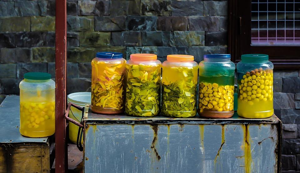 Pickle Jars, The Bottle, Table, Yellow, Hanoi, Vietnam