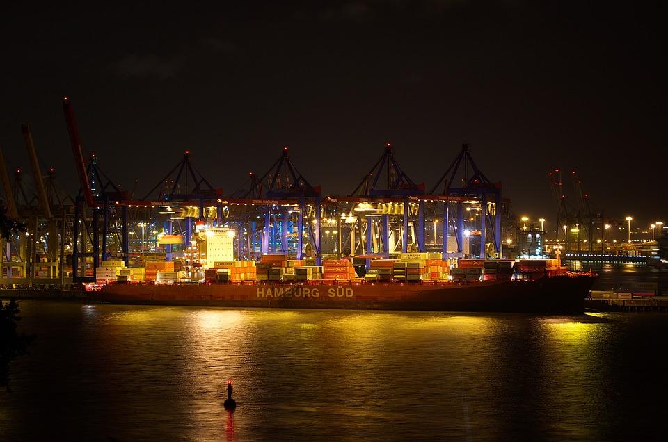 Hamburg, Port, Night, Hamburg Port, Hanseatic, Elbe