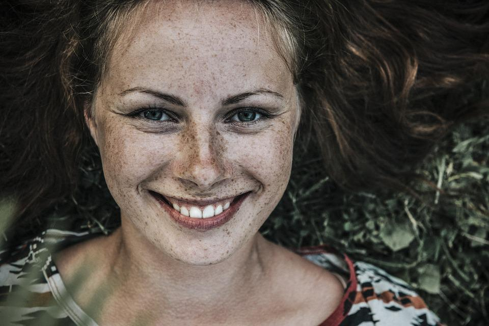 Woman, Face, Freckles, Smile, Smiling, Happy, Happiness