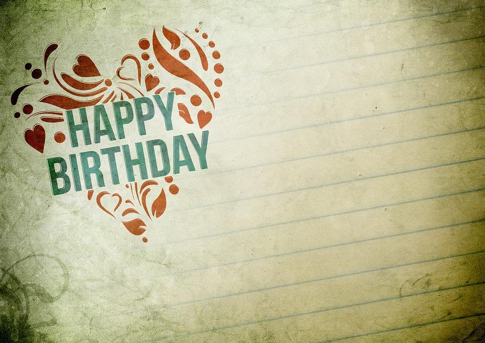 Birthday, Happy Birthday, Heart, Vintage, Decorative