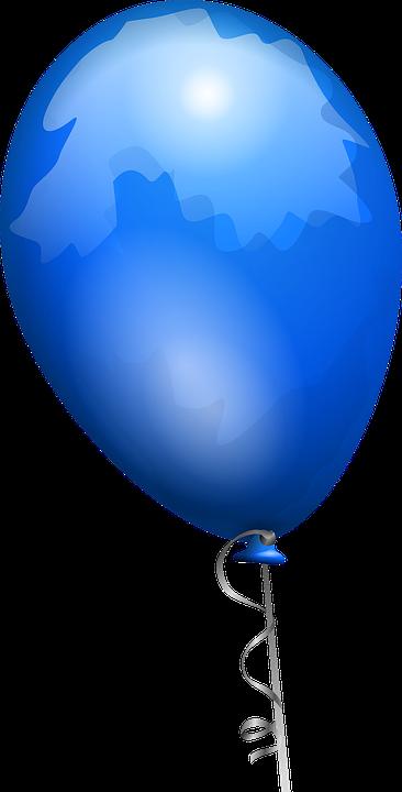 Balloon, Blue, Shiny, Helium, Happy, Birthday, Party